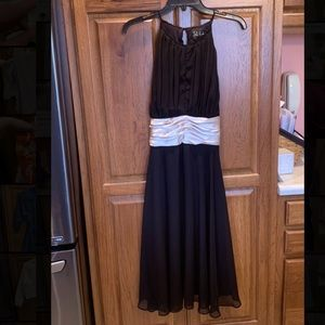 Black Knee Length Dress w/ Champagne accent- Sz 12